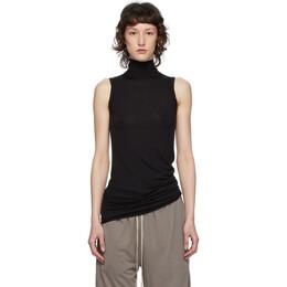 Rick Owens Lilies Black Heavy Jersey Sleeveless Turtleneck Sweater LI20S2114 R