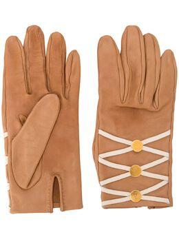 Hermes перчатки с разрезом и шнуровкой pre-owned HERMESGLOVESBEIGE