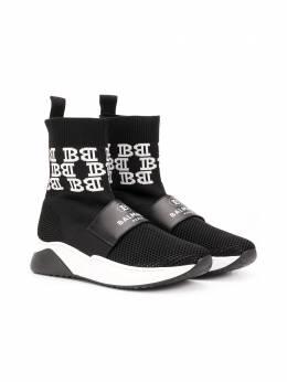 Balmain Kids кроссовки-носки с логотипом на ремешке 6M0136MX410T