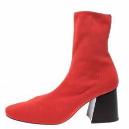 Celine Orange Stretch Knit Fabric Sock Block Heel Ankle Boots Size 39.5 277208