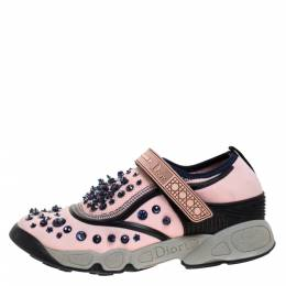 Dior Pink Stretch Fabric Fusion Embellished Low Top Sneakers Size 37.5 277178
