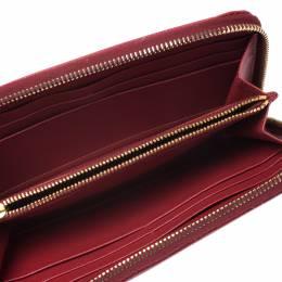 Prada Red Saffiano Leather Zip Around Wallet 277164