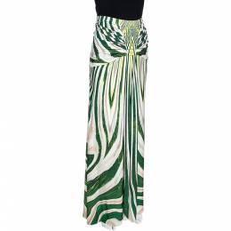 Roberto Cavalli Green Striped Print Jersey Pleated Detail Maxi Skirt L 276758