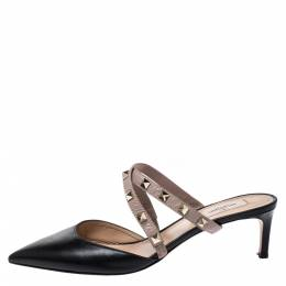 Valentino Black/Beige Leather Rockstud Pointed Toe Mules Size 40