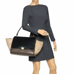 Celine Tri Color Leather and Suede Large Trapeze Bag 277064