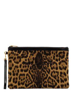 Saint Laurent клатч с леопардовым узором 565722H9M4J