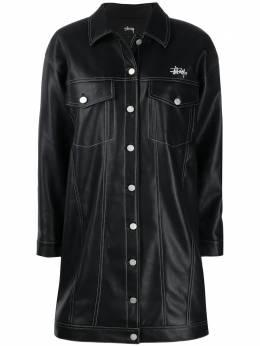 Stussy однобортное пальто из искусственной кожи 211180