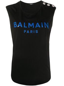Balmain топ без рукавов с логотипом TF01000I443