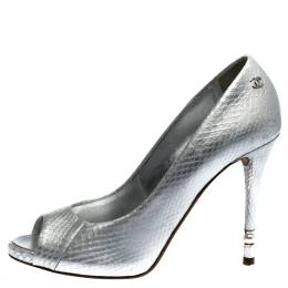Chanel Silver Python Leather CC Peep Toe Pumps Size 37 277265