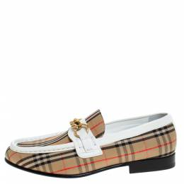 Burberry Beige/White Nova Check Canvas And Leather Moorley Chain Loafers Size 37 277631