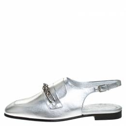 Burberry Silver Leather Cheltown Slingback Flat Sandals Size 41 277649