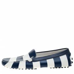 Tod's Blue/White Striped Leather Slip On Loafers Size 39 277391