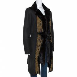 Roberto Cavalli Black Embellished Shearling Fur Lined Coat M 277528