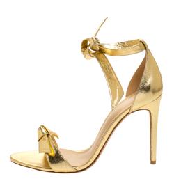 Alexandre Birman Metallic Gold Leather Clarita Ankle Wrap Sandals Size 40 277420