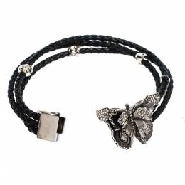 Alexander McQueen Crystal Butterfly Charm Black Braided Leather Layered Bracelet 277747