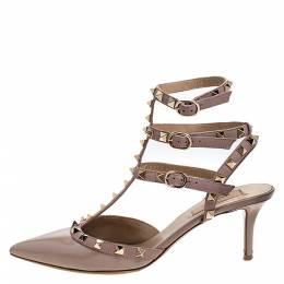 Valentino Beige Patent Leather And Leather Rockstud Ankle Strap Pointed Toe Sandals Size 39