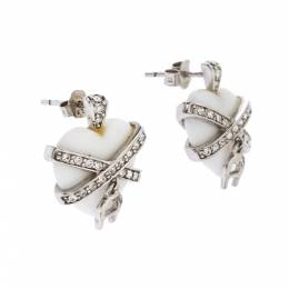 Aigner Crystal Resin Heart Charm Silver Tone Earrings 277515