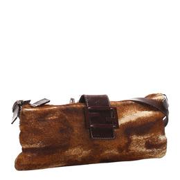 Fendi Brown Faux Fur Leather Shoulder Bag 276215