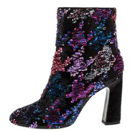 Roger Vivier Multicolor Sequin Embellished Block Heel Ankle Boots Size 37 277614