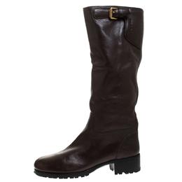 Prada Brown Leather Block Heel Knee Length Boots Size 39 277370