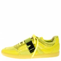 Dior Apple Green Leather and Mesh Lace Sneakers Size 41 277375