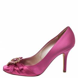Dior Pink Satin Crystal Embellished Bow Square Toe Pumps Size 38 277152