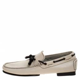 Tom Ford Beige Leather Tassel Loafers Size 40 277362