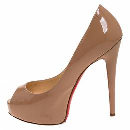 Christian Louboutin Beige Patent Leather Peep Toe Very Prive Pump Size 37.5 277237