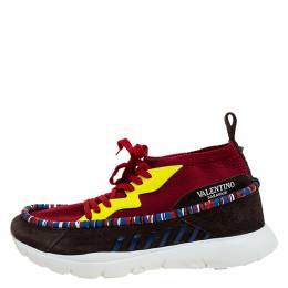 Valentino Multicolor Knit Fabric, Suede And Patent Rockstud Lace Up Sneakers Size 45 277336
