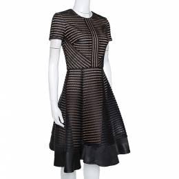 Elie Saab Black Honeycomb Mesh Striped Mini Dress XS 277209
