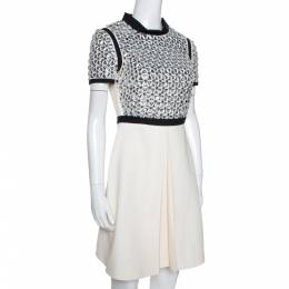Gucci Cream Silk Crystal Embellished Flared Dress S 277205