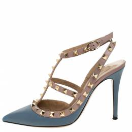 Valentino Grey/Beige Leather Rockstud Ankle Strap Sandals Size 37