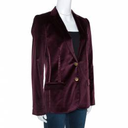 Dolce&Gabbana Burgundy Velvet and Satin Trim Blazer M