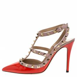 Valentino Beige/Red Patent And Leather Rockstud Ankle Strap Sandals Size 37