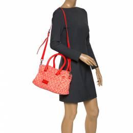 Marc By Marc Jacobs Neon Orange Tweed Fabric Boston Bag 277455