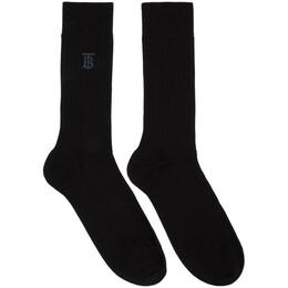 Burberry Black Embroidered Monogram Socks 8029329