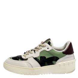 Valentino Multicolor Camouflage Canvas and Leather Rockrunner Sneakers Size 41 277359