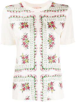 Tory Burch футболка с цветочным принтом 64718