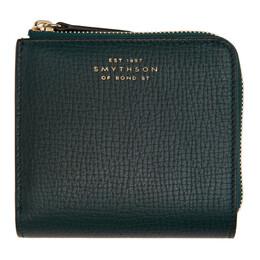 Smythson Green Zip Around Bifold Wallet 1025994