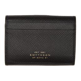 Smythson Black Mini Panama Trifold Wallet 1025398