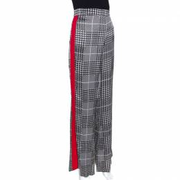 Ch Carolina Herrera Monochrome Houndstooth Printed Satin Wide Leg Trousers M 277666