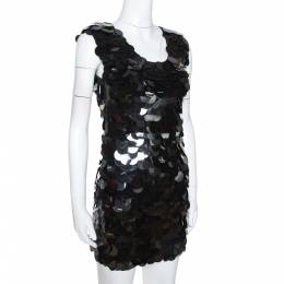 D&G Black Oversized Sequin Embellished Wool Sleeveless Dress XS Dandg 277675