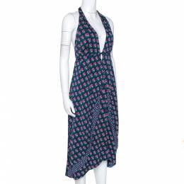Diane Von Furstenberg Navy Blue Zen Floral Print Silk Leyland Halter Dress XL 277674