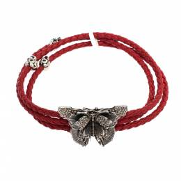 Alexander McQueen Crystal Butterfly Charm Red Braided Leather Layered Bracelet 277736
