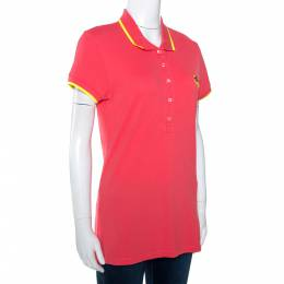 Kenzo Coral Pink Cotton Pique Tiger Embroidered Polo T-Shirt M 277682