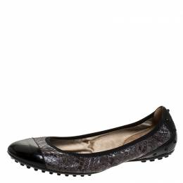 Tod's Two Tone Python Leather Patent Cap Toe Scrunch Ballet Flats Size 36.5 Tod's 277284