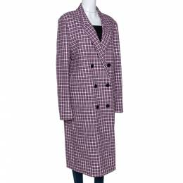 Burberry Burgundy Plaid Check Cotton Double Breasted Coat L 277825