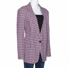 Burberry Burgundy Plaid Check Cotton Blazer L 277820