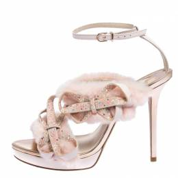 Sophia Webster Pink Faux Fur And Leather Bella Bow Embellished Ankle Strap Sandals Size 38.5 278433
