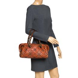 Bottega Veneta Orange/Brown Leather Grommet Boston Bag 277355